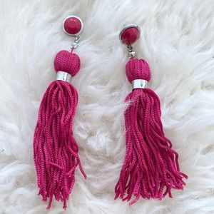 Zara Pink Fringe Chainette Tassel Earrings